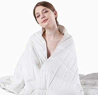 Beauty Kate Weighted Blanket Adult 20 lbs 60''x80'' Queen Size, 100% Organic Cotton with Glass Beads, Heavy Blanket for Improved Sleep & Relieving Anxiety, White