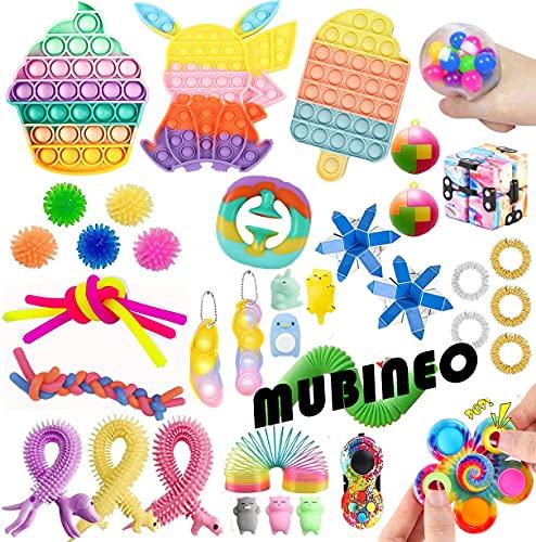ZhaZhaMeng 41Pc Tik Tok Fidget Sensory Toys Fidget Toys Pack Push Bubble Pop Toy Stress Anxiety Relief Toys Set for ADD OCD Autistic Children Adults Anxiety Autism (Toy Set A8)