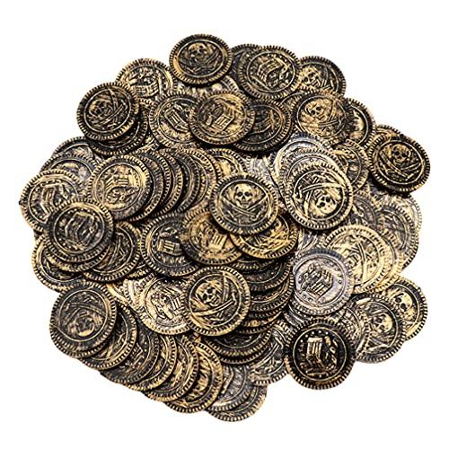 NUOBESTY 100 Piezas de Favores de Fiesta Pirata Monedas Falsas Moneda del Tesoro para Niños Tema Pirata Cumpleaños Suministros para Fiestas