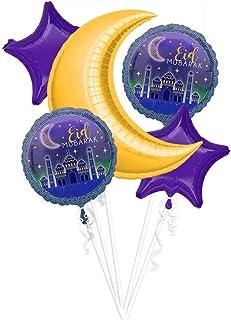 CheeseandU 5 PCS Eid Mubarak Balloons Set, Islamic Muslim Party Decorations, Ramadan Round Star Moon Celebration Balloons ...