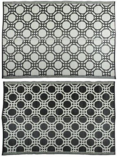 Buitenkleed cirkels 174x121 cm zwart en wit OC17