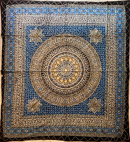 etnico Telo arredo Batik con Ricami Dorati arazzo 210 x 220 cm Circa Hippie Om Indiano Made in India colorato Spiaggia Copri Divano ajrak (Blu)