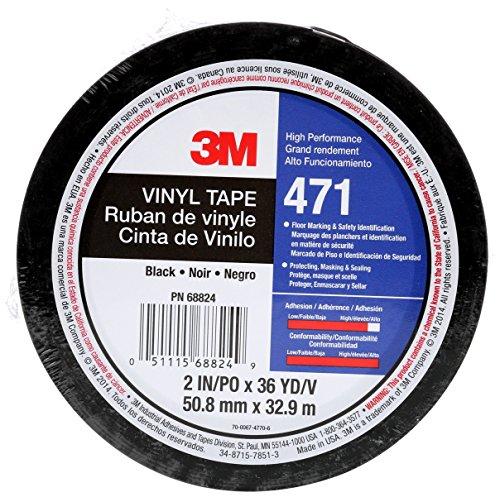 3M 471IW-S50-D 471 Hochwertiges Weich-PVC-Klebeband, 50 mm x 33 m, Schwarz