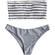 ZAFUL Women's Strapless Striped Frilled Smocked Two Piece Bandeau Bikini Set