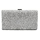 Shiratori Lady Clutch Bag with Crystal Rhinestone Evening Bag,Silver