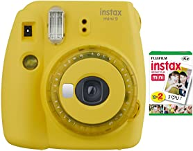 Fujifilm instax Mini 9 Instant Camera (Yellow) and Film Twin Pack (20 Sheets) Bundle (2 Items)