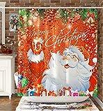 DESIHOM Weihnachtsduschvorhang Weihnachtsmann Duschvorhang Rot Urlaub Duschvorhang für Badezimmer Winter Duschvorhang Weihnachtsbaum Duschvorhang Polyester Wasserdicht Duschvorhang 183 x 183 cm