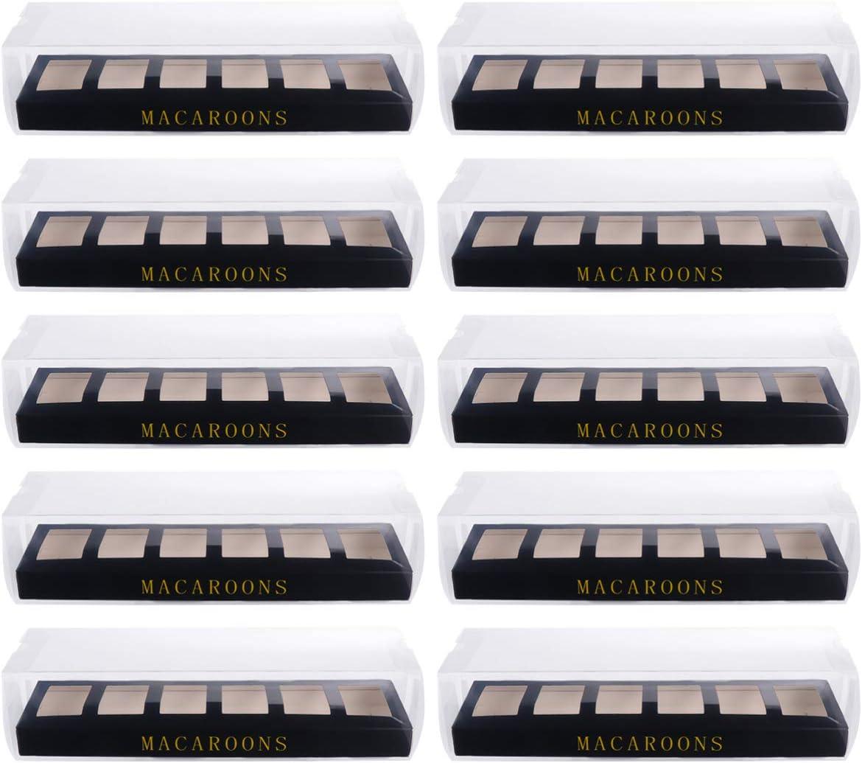Hemoton 10 Piezas Cajas de Macarrones Ventana de Visualización Transparente Contenedor de Macarons O Kit de Caja de Embalaje para Trufas de Chocolate Cake Pops Postres Galletas O Muffins