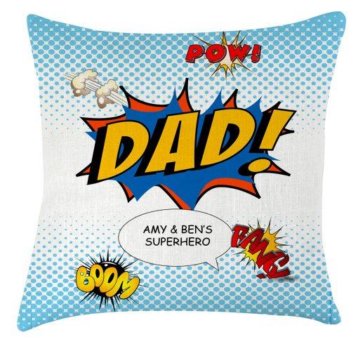 Artylicious Comic book superhero Dad personalised cushion idea