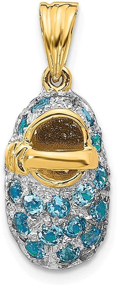 Charm Pendant 14K Our shop OFFers the best service SALENEW very popular Two-Tone Gold 12 Blue Swiss 2 Topaz December