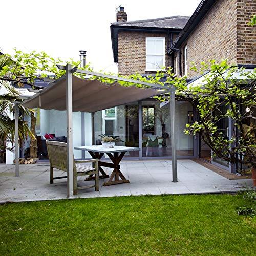Cloud Mountain Patio Pergola 10 x 13 Flat Hanging KD Tent Retractable Gazebo for Outdoor Garden or Deck, Khaki