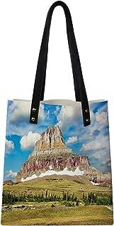 Women's Soft PU leather Tote Shoulder Bag, Rugged Colorful Peak and Cloudy Amazing Sky Nature Scene from Montana,Big Capacity Handbag Hobo bag, Satchel Purse