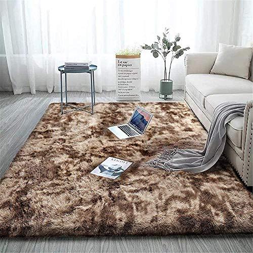 XQBHH Alfombra grande, suave al tacto, para dormitorio, antideslizante, para yoga, alfombras peludas, moquetas, moquetas suaves, teñidas, marrón (200 x 230 cm)