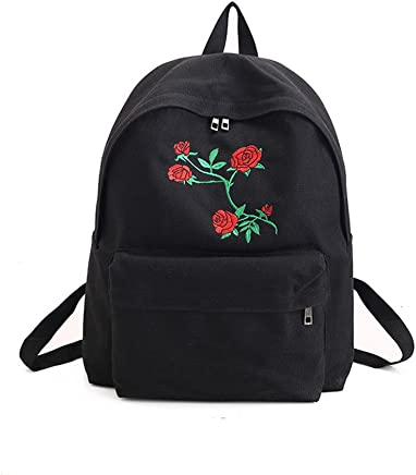 Hosaire New Fashion Lady's Canvas Backpack Girl's Satchel School Bags Rose Embroidery Design on Women's Travel Bag A Classical Pure Color Bag backpack