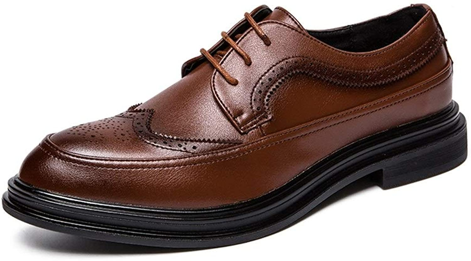 Fashion Men Wingtip Oxfords Casual Lace-up Dress shoes Microfiber Upper Round Toe Lightweight Breathable Walking shoes Brogue shoes Men's Boots (color   Brown, Size   8 UK)