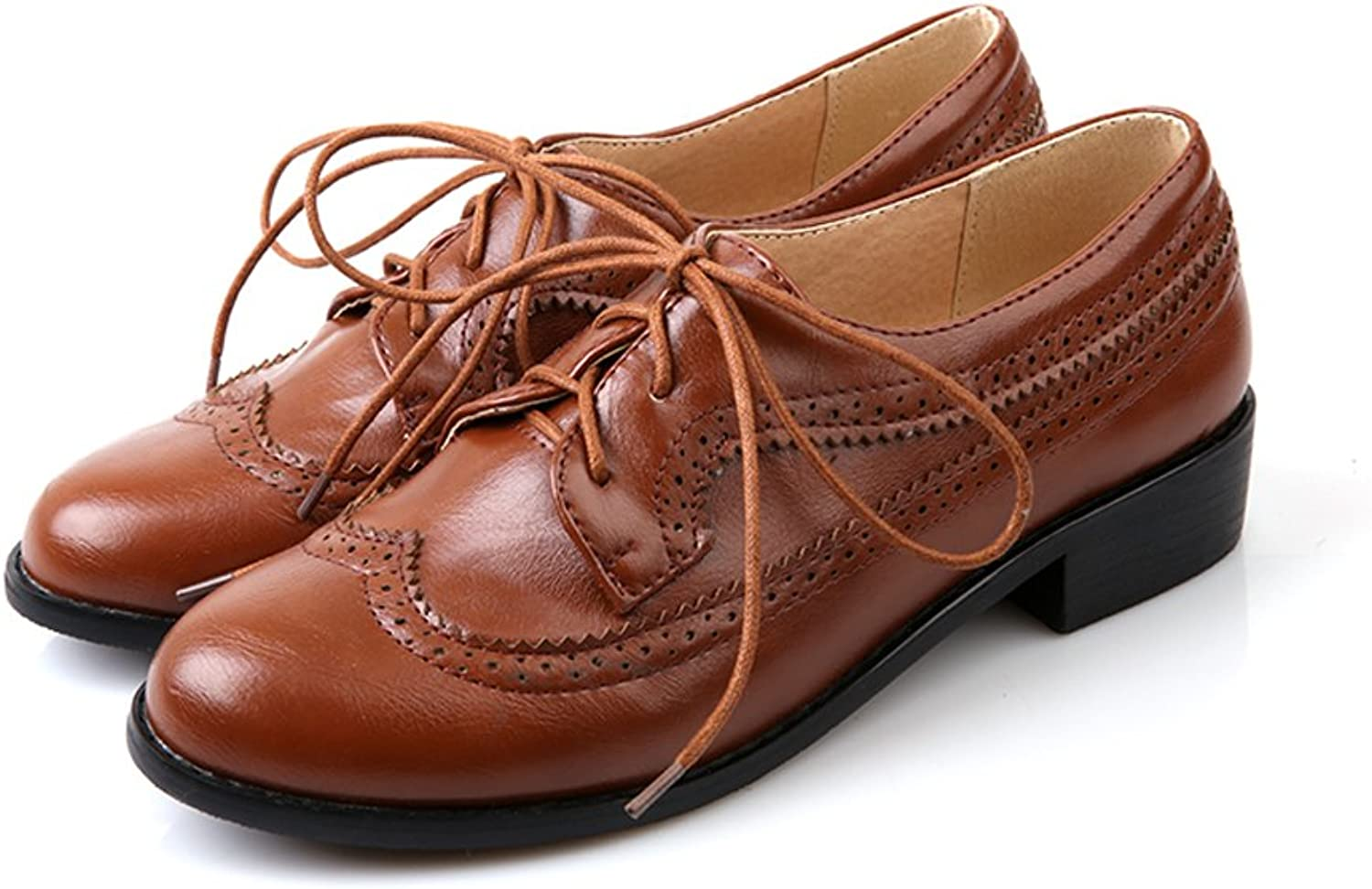 Lucksender Womens Lace Up Chunky Low Heel Oxford shoes