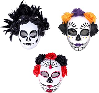 3 Pack Women's Masquerade Mask Mexican Day of The Dead Sugar Skull Red Black Purple Orange Faux Flowers