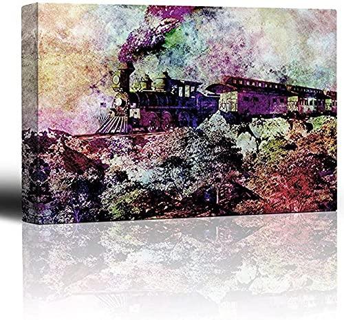 Pintura Tren De Acuarela con Humo Cargando A Través De Un Paisaje De Mere - Locomotora Vieja Y Vagones De Pasajeros Penachos De Humo - Arte De La Lona