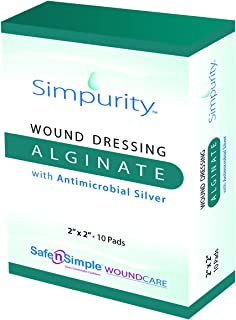 """Simpurity Alginate Wound Dressing First Aid with Antimicrobial Silver, 2"""" x 2"""", Box of 10 – Calcium Alginate Dressing"""