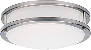 OSTWIN 10-inch Small size LED Ceiling Light Fixture Flush Mount, Dimmable, Round 16 Watt (100W Repl) 3000K Warm light, 1120 Lm, Nickel Finish with Acrylic shade ETL and ENERGY STAR listed
