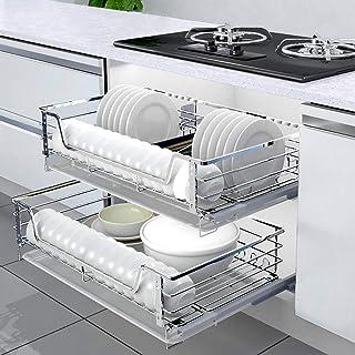 Karnih 2 Pcs Tirez sur Les paniers en Fil de Base de Cuisine Unités de Garde-Manger Rangement Organisateur Rack, Cabinet P...