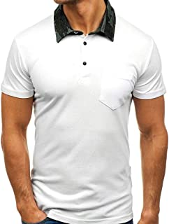 SPE969 Men's Cool Short Sleeve Polo Shirt, Pure Color Camouflage Collar Pattern Casual Cool Lapel Short Sleeve Shirt
