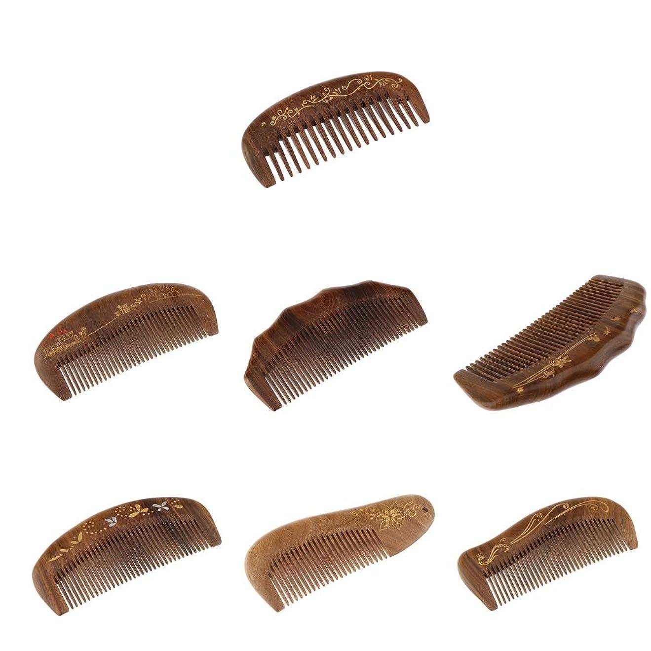 オン変成器ロッドCUTICATE コーム ヘアコーム ヘアブラシ 静電気防止 木製 7個パック