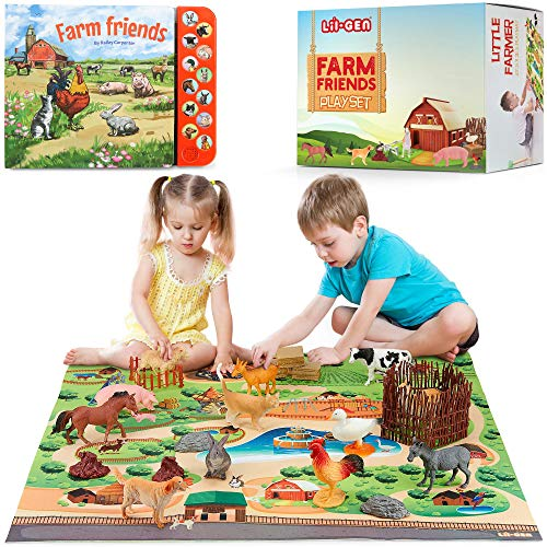 Lil-Gen Farm Animals with Farm Animal Sound Book  12 Toy Figures with Playmat and Farm Accessories for Toddlers – Farm Playset for Boys and Girls 2 Years Old & Up (22 Piece Set)