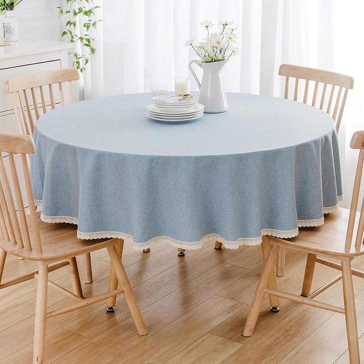 満たすピービッシュ禁じるテーブルクロス 円形 テーブルクロス シンプル ソリッドカラー 和風 テーブルカバークロス テーブルカバー 防汚 サイズ選択可能 インテリア用品 多用途 (水色, 直径90cm)