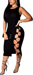 Women's Sexy Sleeveless Bandage Lace Up Bodycon Mini Club Dress