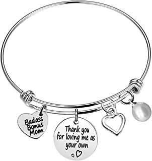 Stepmother gifts from Daughter Son Thank You for Loving Me As Your Own Adjustable Charm Bracelet Stepmom Bracelet Mother's...