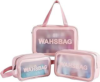 Timertick Transparante make-uptas, 3 stuks, waterdichte toilettas voor zwembad, badkamer, reizen, vliegen, meerdere maten