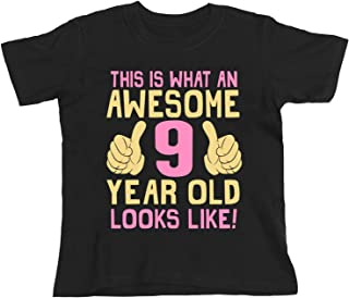 buzz shirts 9th Birthday Gift - This is What an Awesome 9 Year Old Looks Like - Girls Kids Organic T-Shirt