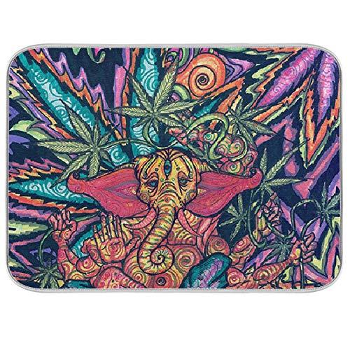 Estera de microfibra para secar platos, extra grande, súper absorbente, diseño de doble cara para cocina, hoja de cannabis de caballo de mar de 18 x 24 pulgadas