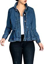 Womens Vintage Slim Fit Cape Up Peplum Button Down Denim Jean Jacket with Asymmetry Ruffle Hem Plus Size