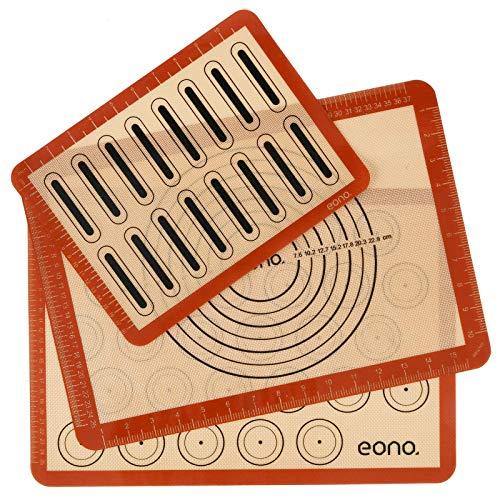 Amazon Brand - Eono 3 Stück Silikon Backmatte Macarons, Antihaft Backunterlage Dauerbackfolie Backpapier, Silikonmatte Backen für Makronen/Kekse/Brot, Pizza Matte, Tischset