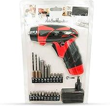Mini atornillador inalámbrico, 20 accesorios 3,6 V, máx. 3 Nm, luz LED, recargable, con cargador, para apretar y aflojar tornillos, taladro atornillador inalámbrico, Rojo