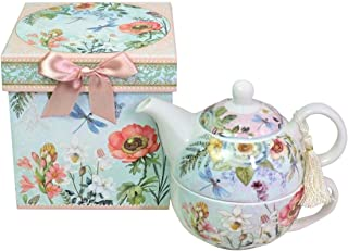 Lightahead Bone China Tea for One Set in Flora Design, in attractive Reusable Handmade Gift Box (With Bead & Ribbon)