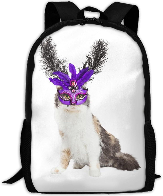 Backpack Laptop Travel Hiking School Bags Mask Cat Kitten Kitty Pet Daypack Shoulder Bag