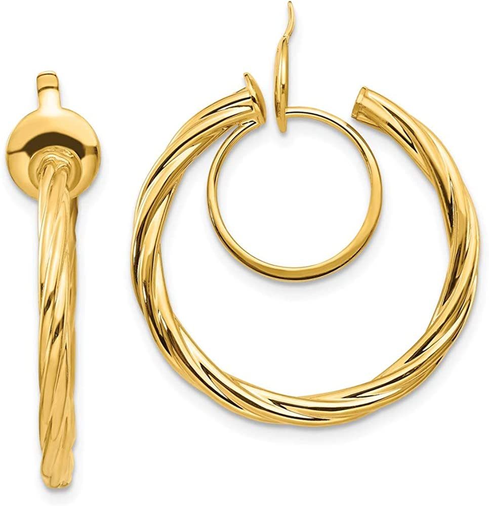 14k Yellow Gold Twisted Non Pierced Clip On Hoop Earrings Ear Hoops Set Fine Jewelry For Women Gifts For Her