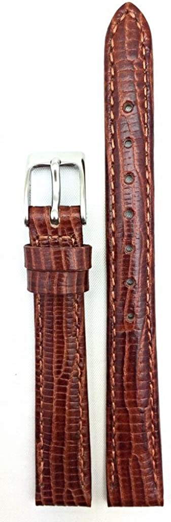 14mm Brown Genuine Leather Watch Band Tail Grain Light Max 46% OFF Indefinitely Lizard