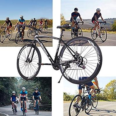 Wouke 26in Road Bike,700C Wheels 21 Speed Disc Brake Bicycle 26 Inch Wheels Road Bicycle Men Women Bikes Outdoor Sports (Black)