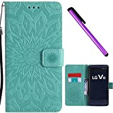LG V10 Case Cover EMAXELER Stylish Wallet 3D Embossed Kickstand Flip Sun Flower Three Dimensional Cards Slot Cash Pockets PU Leather for LG V10 Sun Green