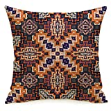 Decorative Linen Square Throw Pillow Cover Africa Geometry Abstract Geometric Pattern Mexican South Tribal Ornamental African Floral Design Modern Design Cushion Case for Car Bed 16 x 16 Inch