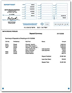 Laser Deposit Tickets for Computer Programs Including Quickbooks and Quicken (500)