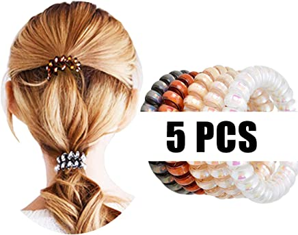 5PCS Elastic Spiral Hair Ties Power Sparkling Hair Ring Rubber Coil Hair  Bands Telephone Cord Ponytail 6bf299619f2
