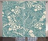 ABAKUHAUS Floral Rideaux, Marrakech Paisley, Décoration Intérieure Accent Ensemble de 2 Panneaux, 280 cm x 260 cm, Teal et Beige