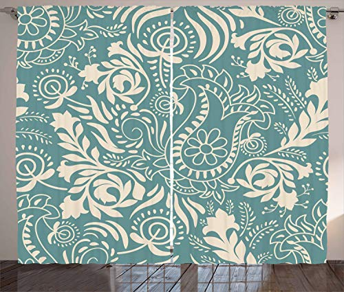 ABAKUHAUS Blumen Rustikaler Gardine, Ethnisches Marrakesch Paisley, Schlafzimmer Kräuselband Vorhang mit Schlaufen und Haken, 280 x 260 cm, Beige und Teal