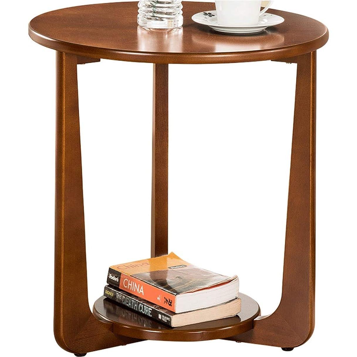 嵐が丘あいまいラフHAUYU テーブル サイドテーブル、リビングルームソファラウンドコーヒーテーブル読書用 - ウォールナットカラー50 * 53.5cm 耐久性のある (色 : ウォールナット)