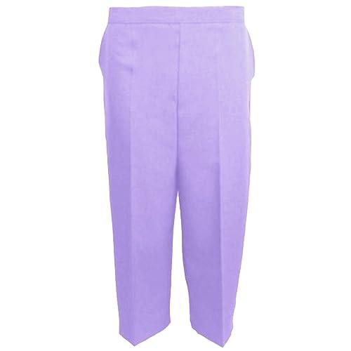 b747dfbe0d8a4 MyShoeStore Pack of 2 Ladies Womens 3 4 Three Quarter Half Elasticated  Trouser Plain Capri